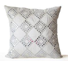 Decorative Pillow Cover Cream Silk Sheesha Throw by AmoreBeaute
