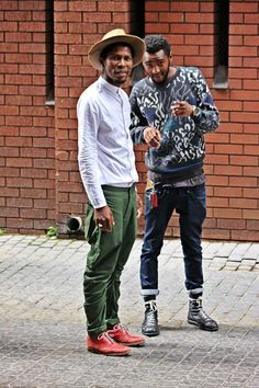 Two different guys with tow very different styles - that's what we love about South African street style. South African Fashion, African Fashion Designers, Africa Fashion, African Street Style, Stylish Men, Men Casual, African Clothing For Men, Best Mens Fashion, Men's Fashion
