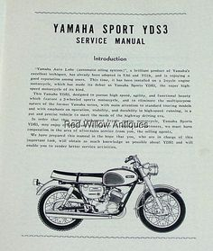 yamaha workshop manual yds1 250s 1960 1961 1962 maintenance rh pinterest co uk WF328AAW XAA Service Manual Honda 9Hp Engine Shop Manual