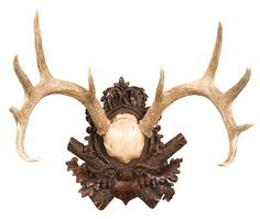 """White tail deer antlers on a detailed plaque.Made of cast resin.17.5"""" High x 20"""" Wide x 13"""" Deep.This item is made to order in the USA!  Please allow 2-4 weeks."""