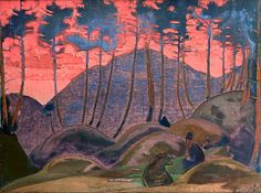 Language of forest Artist: Nicholas Roerich Completion Date: 1922 Style: Symbolism Genre: landscape Technique: tempera Material: canvas Dimensions: 58.5 x 79 cm