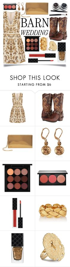 """Best Dressed Guest: Barn Weddings"" by ittie-kittie ❤ liked on Polyvore featuring Alice + Olivia, Durango, Jimmy Choo, MAC Cosmetics, Smashbox, Gucci, bestdressedguest and barnwedding"