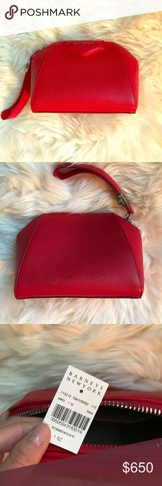 "*Authentic* Givenchy Antigona Clutch Like new! Gorgeous red pebbled leather.  % authentic! Antigona style. 6"" height x 7"" width x 4"" depth (approximately). 6.5"" wristlet strap (approximately). Givenchy Bags Clutches & Wristlets"
