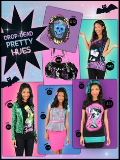 Cartel ink, colorful outfits, pretty apparel, retro, teen fashio, Too Fast, vintage.