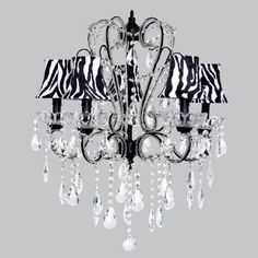 Jubilee Collection Carousel Black Five Light Chandelier With Zebra Shades 76007 2730