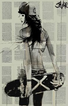 "Saatchi Art Artist Loui Jover; Drawing, ""sk8er gurl"" #art"