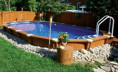 Discover 27 semi inground pool ideas for your inspiration. Browse photos of semi inground pools with deck. A collection of semi inground pool landscape ideas. Semi Inground Pools, Oberirdische Pools, Cool Pools, Diy Swimming Pool, Swimming Pool Designs, Backyard Pool Landscaping, Ponds Backyard, Landscaping Ideas, Backyard Ideas