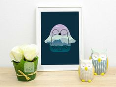 Penguin Print, Sleeping Penguin Gift Nursery Animals Prints  A sleeping penguin with a dreamy background print for nurseries and kids rooms. Perfect gift for a penguin lover.