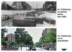 Av. Catalunya en obras, año 1984 y en la actualidad