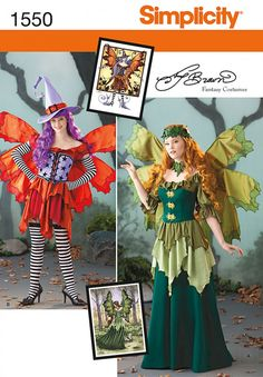 Simplicity Ladies Sewing Pattern 1550 Fairy Fancy Dress Costumes with Wings | Sewing | Patterns | Minerva Crafts