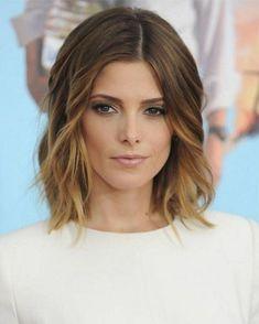 coupe mi-courte femme 2015: bob ombré, cheveux ondulés                                                                                                                                                                                 Plus