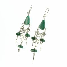 A delicate green teardrop with alpaca silver and green beaded fringe on a shepherd's crook for pierced ears.   Only £8.99