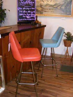 Vintage Aqua & Orange Bar Height Bar Stools Pair! — at Retro Kalamazoo.