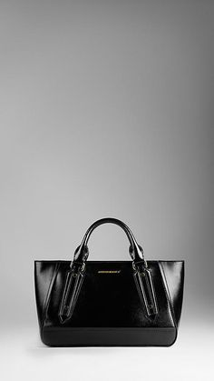 Burberry Large Patent Leather Landscape Tote Bag