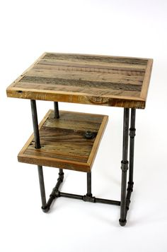 Industrial Wood & Steel Side Tables // Reclaimed Wood by weareMFEO, $345.00