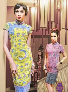 batik - yellow and blue - Batik Indonesia