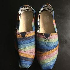 Toms striped shoes Toms striped shoes size w8 brand new !!! TOMS Shoes Flats & Loafers