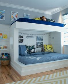 Beautiful DIY built in, twin over full, plank wall bunk beds.  Tons of step by step pictures on blog.  A modern boys race car themed room with lots of great ideas for budget decorating.