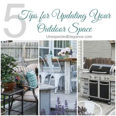 5 Tips for Updating Your Outdoor Space by updating or modifying things you might already have!!