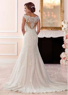 Buy discount Gorgeous Tulle Off-the-shoulder Neckline Natural Waistline Mermaid Wedding Dress With Lace Appliques & Beadings at Laurenbridal.com