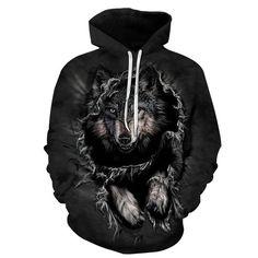 Mountain Wolf 3D Hoodie Sweatshirt Pullover - L