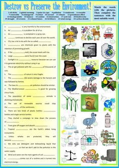 Destroy vs Preserve the Environment - Interactive worksheet Teaching Nouns, Presente Simple, Un Sustainable Development Goals, Singular And Plural Nouns, Reading Comprehension Worksheets, Learn English Grammar, School Subjects, Second Language, Study Materials