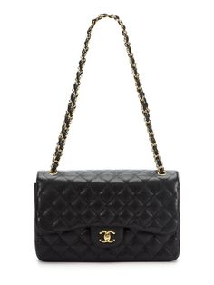 Chanel Black Quilted Caviar Leather Classic 2.55 Jumbo Double Flap Bag. Yes, Please!!