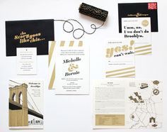 Michelle + Bernie's Black and Gold Brooklyn Wedding Invitations | Design + Photo: Meesch | Foil Stamping: Mama's Sauce | Twine: Knot + Bow