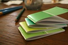 notebooks for games w older kids. DIY scrap paper and paint chip notebooks Paint Chip Cards, Paint Sample Cards, Paint Samples, Fru Fru, Operation Christmas Child, Diy Notebook, Paint Swatches, Paper Crafts, Diy Crafts