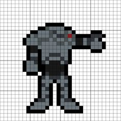 Super Battle Droid Perler Bead Pattern Crochet Stars, C2c Crochet, Fuse Beads, Perler Beads, Star Wars Battle Droids, Minecraft Quilt, Video Game Crafts, 8 Bit Art, Pixel Art Templates