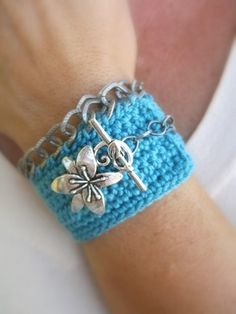 Handmade Crochet Cuff Bracelet in Turquoise with Silver Floral Toggle Closure and Chain