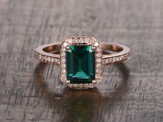 6x8mm Lab Emerald Engagement ring Rose gold,Diamond wedding band,14k,Emerald Cut Treated,Green Gemstone Promise Ring,Bridal,Halo pave set by popRing on BBBGEM