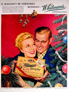 Whitman chocolate sampler That's a Christmas gift for a wife? Christmas Poster, Christmas Scenes, Retro Christmas, Christmas Love, Christmas Goodies, Retro Poster, Retro Ads, Vintage Advertisements, Vintage Posters