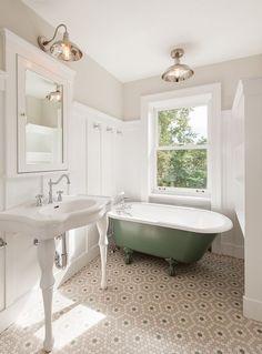 Traditional Full Bathroom with Clawfoot, Glass panel, Rayne acrylic clawfoot tub, Standard height, penny tile floors, Bathtub
