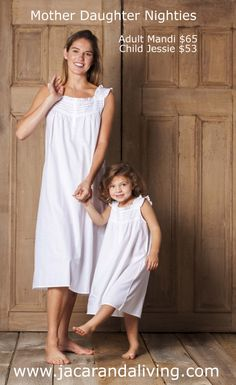 White Cotton Nightgowns / Nighties Mother Daughter nighties from our 2014 Collection