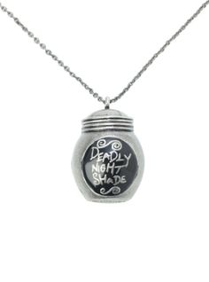 "Burnished silver tone necklace with ""Deadly Night Shade"" jar pendant. So cute for Miss K;)"