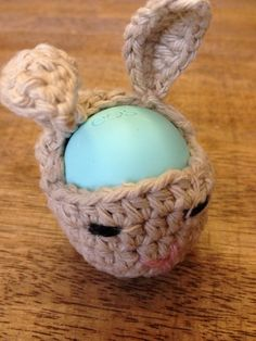 Brown bunny  EOS Lip Balm Holder /cozy - (EOS not included) on Etsy, $8.25