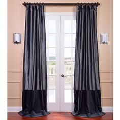 Banded Faux Silk Graphite Blue Velvet Curtain Panel