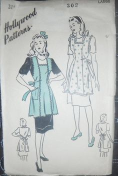 1940s Princess Style Apron Vintage Hollywood Pattern 202 Size Large