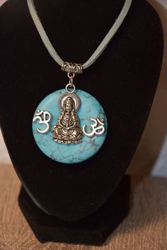 Collier zen en turquoise Turquoise, Zen, Pendant Necklace, Jewelry, Natural Stones, Buddha, Hand Made, Cords, Lobster Clasp