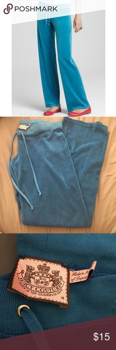 Juicy couture teal blue track pants Juicy couture teal blue terry cloth pants. Very confortable, great leisure wear! Color is closer to the pants in the cover picture. Bundle and save! Juicy Couture Pants