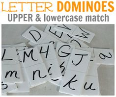 Letter Dominoes - an idea to teach the alphabet Preschool Literacy, Early Literacy, Literacy Activities, Kindergarten Fun, Early Learning, Fun Learning, Teaching Kids, Teaching Resources, Learning Spanish