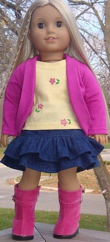 Ruffled Denim Skirt Cardigan & TShirt For by AngelKissesBoutique