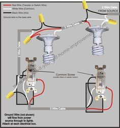 3 Way Switch Wiring Diagram - Electrical wiring Power to light — to light — to switch — to switch - Wiring A Plug, Electrical Wiring Diagram, Electrical Work, Electrical Switches, Electrical Projects, Electrical Installation, Electrical Outlets, Electrical Engineering, Arduino