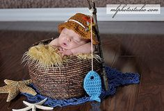 Gone Fishing Newborn Baby Photo Prop Hat and by CraftyKsCrochet, $27.00