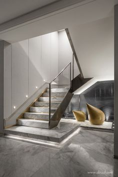 Basement stairs - There is no shortage of stairway design ideas to make your stairway a charming part of your home. From grand staircases and Home Stairs Design, Interior Staircase, Stairs Architecture, Railing Design, Modern House Design, Home Interior Design, Modern Interior, Interior Architecture, Marble Interior