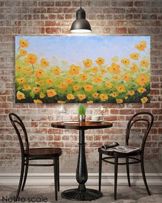 """California Poppy Painting, Large 24x48"""" Canvas Wall Art, original Oil Artwork, Yellow Poppies, Abstract, Impasto Textured Colorful Art"""