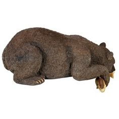 Catch of The Day Grand Bear Statue Animal Statues, Animal Sculptures, Lion Sculpture, Master Angler, Bear Statue, Bear Cubs, Garden Statues, Black Bear, Hand Painted