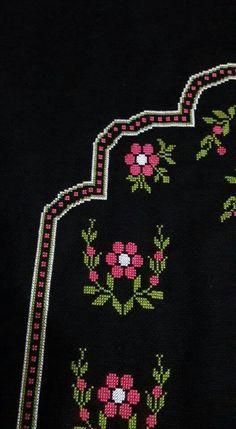This Pin was discovered by gul Cross Stitch Embroidery, Hand Embroidery, Embroidery Designs, Cross Stitch Borders, Cross Stitch Patterns, Hobbies And Crafts, Diy And Crafts, Palestinian Embroidery, Prayer Rug