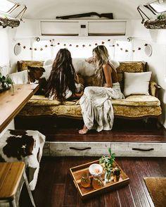 16 ideas trailer remodel interior glamping for 2019 Airstream Remodel, Trailer Remodel, Airstream Interior, Airstream Decor, Camper Life, Camper Van, Happier Camper, Bus Life, Wolkswagen Van
